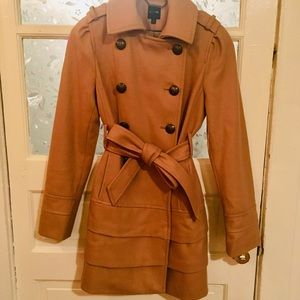 EXPRESS Belted Fit and flare Double Breasted Coat